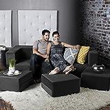 Jaxx Zipline Convertible Sleeper Sofa & Three Ottomans / California King-Size Bed, Black