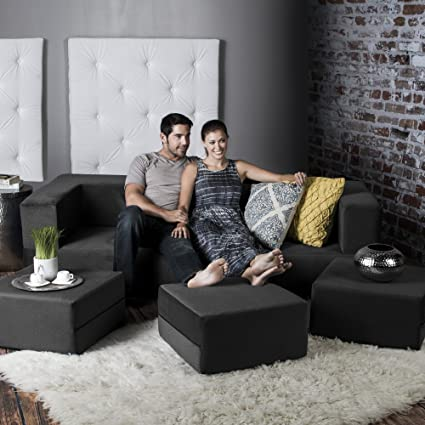 Lovely Jaxx Zipline Convertible Sleeper Sofa U0026 Three Ottomans / California  King Size Bed, Black