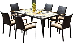 SeCortile 7-Piece Wicker Outdoor Furniture; Natural Teakwood Patio Dining Set; Rectangular Table, 6 Wicker Chairs, Sunbrella Seat Cushions