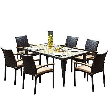 Radeway Home 7 Pc En Osier Meubles De Patio Table De Salle A Manger