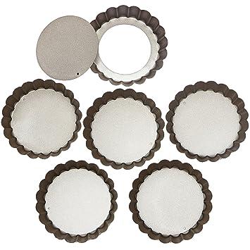 Webake Minicartas de quiche de 4 pulgadas con base suelta Sartenes de tarta de quiche antiadherentes