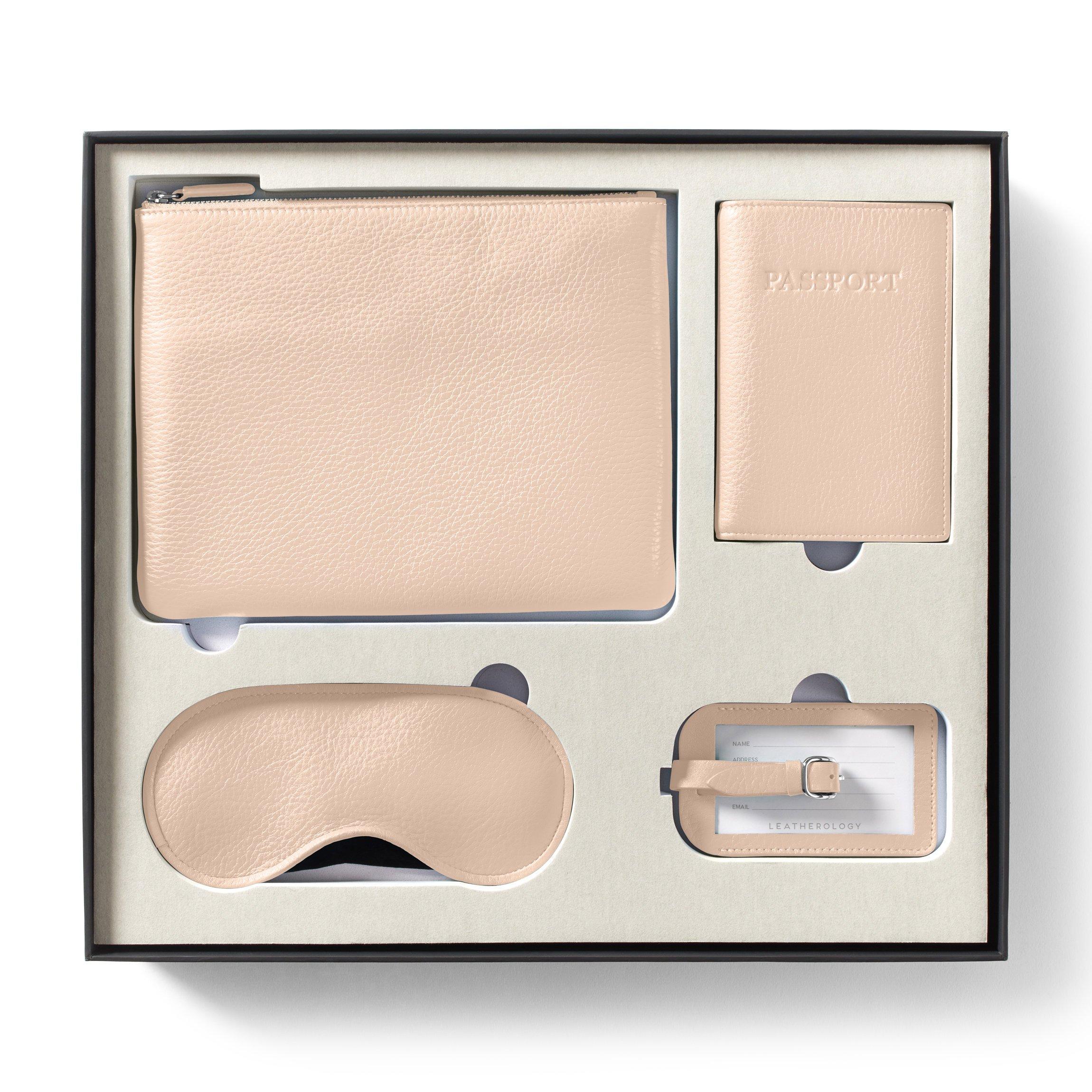 Leatherology Jetsetter Travel Gift Set for Her - Full Grain Leather Leather - Rose (pink)
