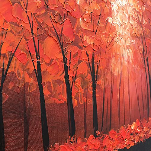 MyArton Oil Painting Abstract Modern Contemporary Wall Decor Landscape Art on Stretched Canvas Red Tree Forest Ready to Hang 20x40inch