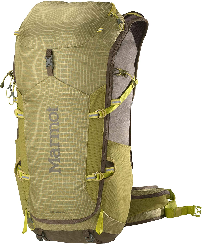 MARMOT Graviton 34 Lightweight Hiking Backpack, Citronelle/Olive