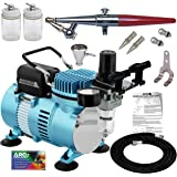 Paasche H Airbrush Set with a Master 1/5 hp Cool Runner II Dual Fan Air Compressor System, Single-Action External Mix…