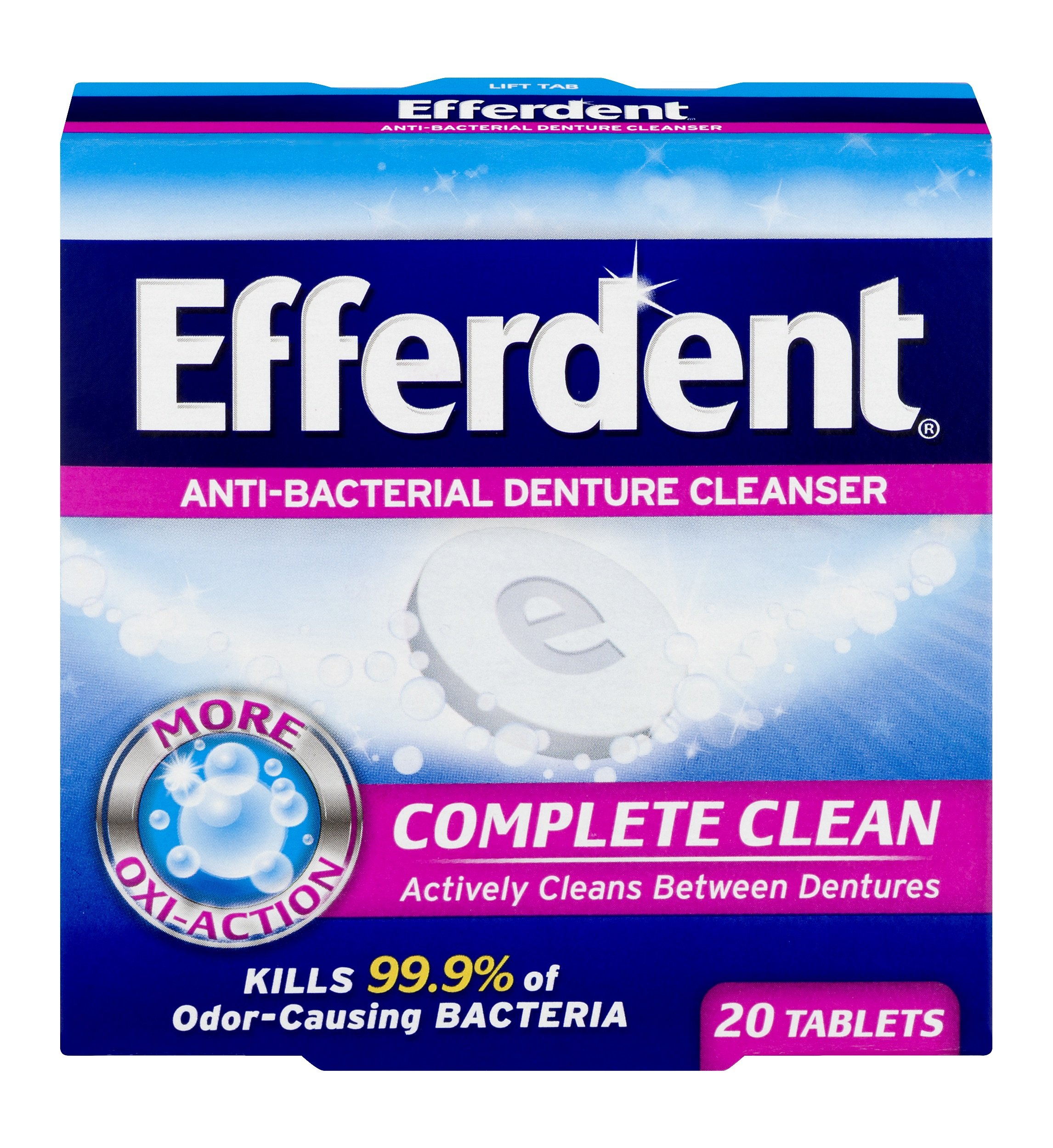 Efferdent Anti-Bacterial Denture Cleansers | 20 tablets | Pack of 12 | Actively Cleans Between Dentures | Packaging May Vary