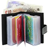 Ras Soft Genuine Leather Credit Card Holder Wallet - 20 Clear Plastic Pockets - 4 Further Card Slots - Black (With A Banknote Compartment) - 601