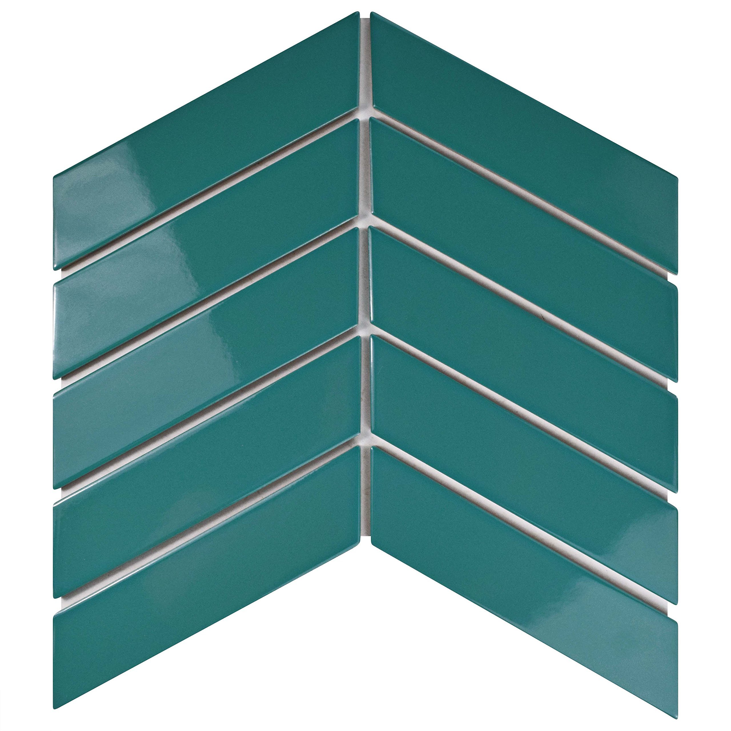 SomerTile FMTSHCGT Retro Soho Chevron Porcelain Floor and Wall Tile, 1.75'' x 7'', Glossy Teal