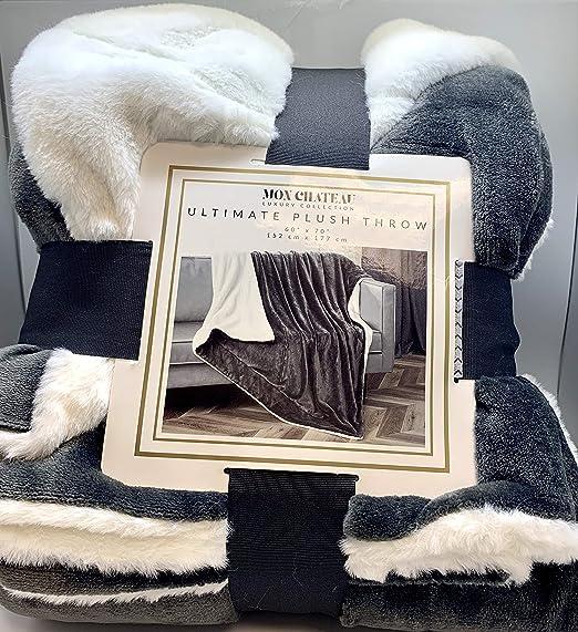 Mon chateau de luxe fausse fourrure jeter Ardoise Gris//Marron//Crème 152 x 177 cm
