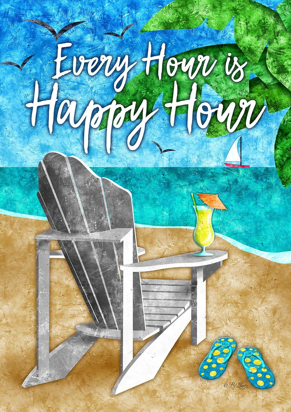 Toland Home Garden Happy Hour Beach 12.5 x 18 Inch Decorative Tropical Summer Adirondack Cocktail Garden Flag