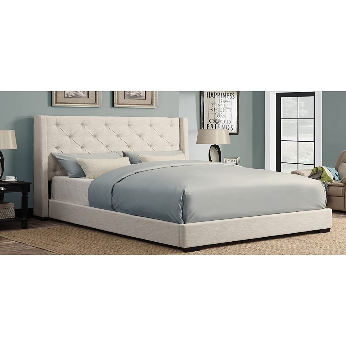 Sofaweb.com Cream Wingback Button Tufted King Size Upholstered Bed