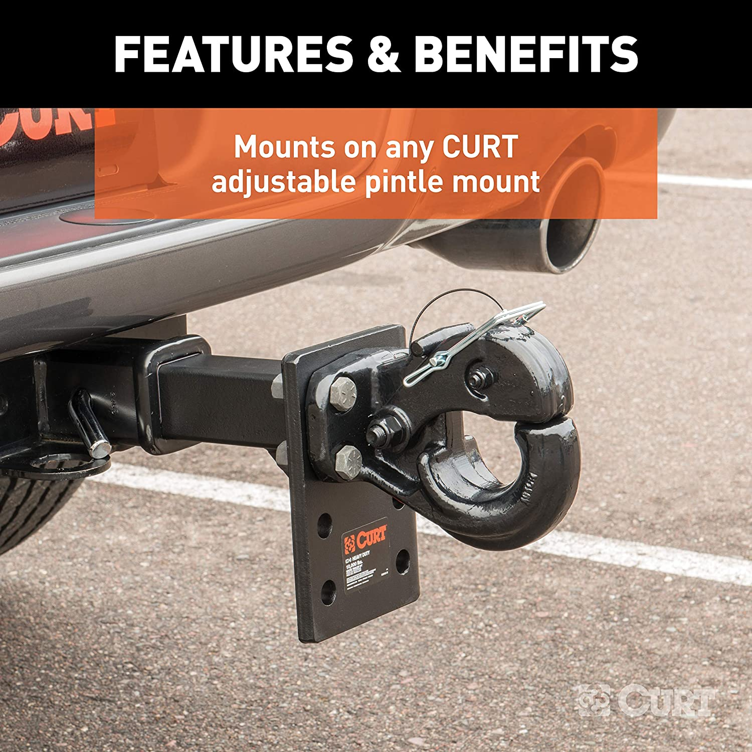 GTW Pintle Mount Required CURT 48205 Pintle Hook Hitch Fits 2-1//2-Inch or 3-Inch Lunette Ring 10,000 lbs