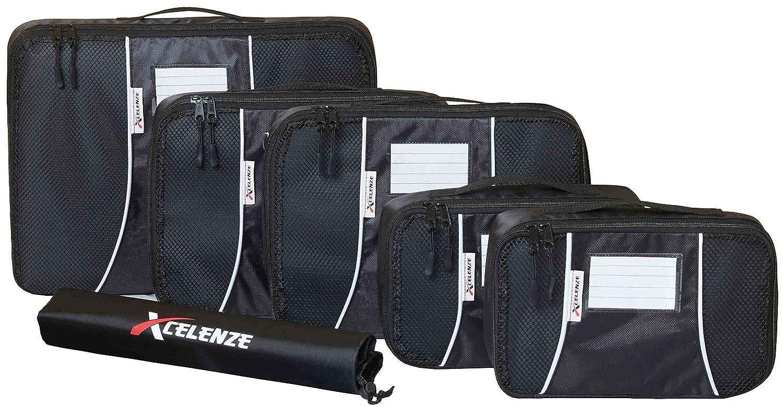 Xcelenze Premium Kleidertaschen Packtaschen Koffer 6-teiliges Set + Beschriftungsfenster, schwarz | Reisetasche, Kofferorganizer, Koffertasche, Packing Cubes Packwürfel + Wäschebeutel