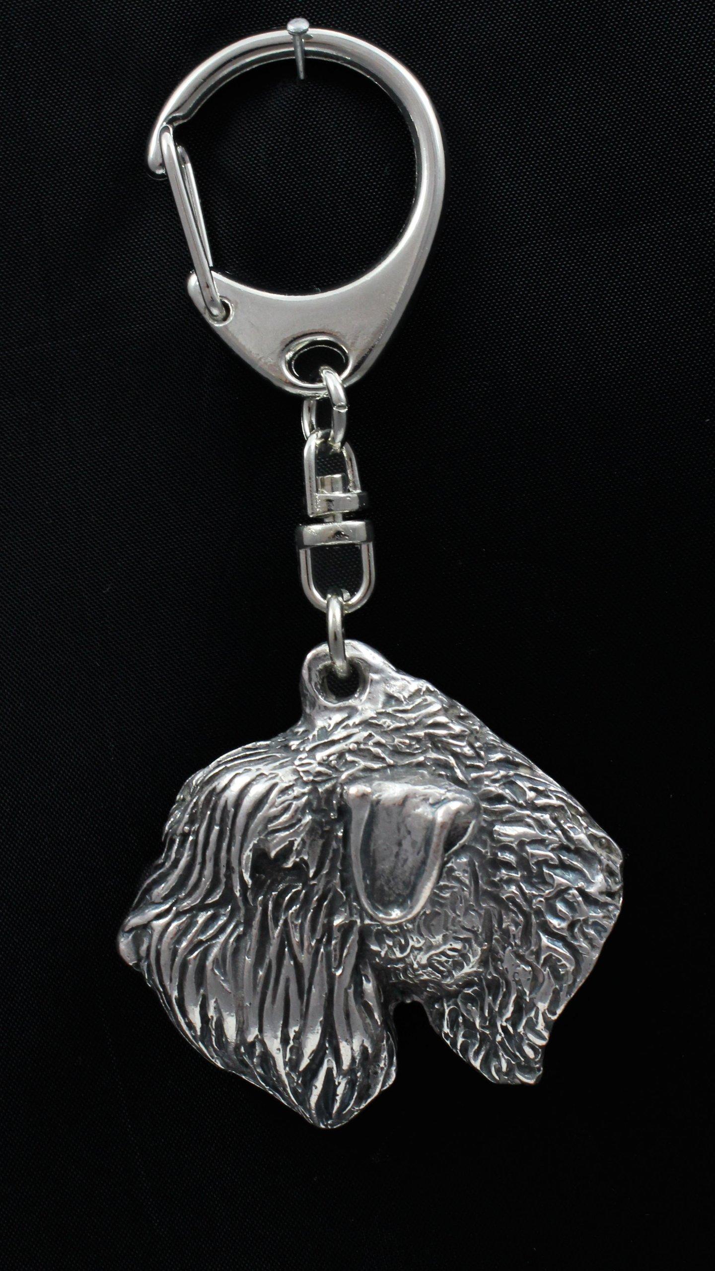Soft-coated Wheatan Terrier, Silver Hallmark 925, Silver Dog Keyring, Keychain, Limited Edition, Artdog