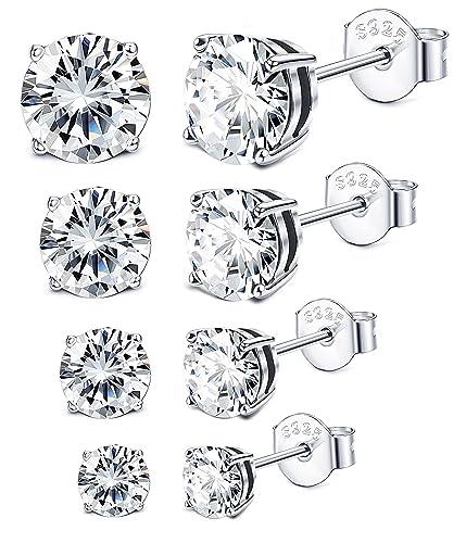 649fedd84 Amazon.com: Sllaiss 3-6MM Sterling Silver Cubic Zirconia Stud Earrings for  Women Men Round Cut CZ Earrings Set Hypoallergenic: Jewelry