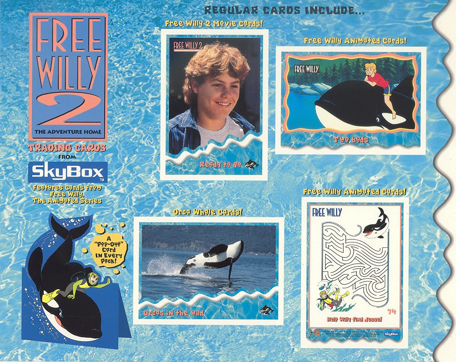 FREE WILLY 2 THE ADVENTURE HOME 1995 SKYBOX UNCUT PROMO CARD SHEET