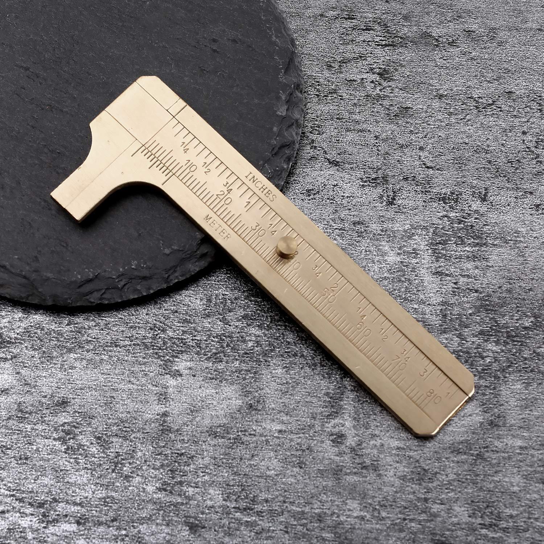 Mini Pinza De Vernier de bolsillo de latón macizo vintage edc 80 mm regla de herramienta de medición