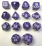 14 Unusual Dice Set Approved for Use with Dungeon Crawl Classics - Purple