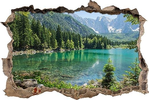 Enorme Lago In Un Paesaggio Di Montagna Muro Passo Avanti Nel Look 3d Parete O In Formato Adesivo Porta 92x62cm Autoadesivi Della Parete