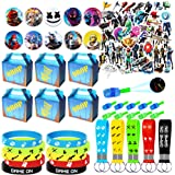 NEZUKO Game Party Supplies for Kids, 100 Pcs Party Favors - Gift Box, Bracelet, Key Chain, Button Pins, Stickers, Finger Ligh