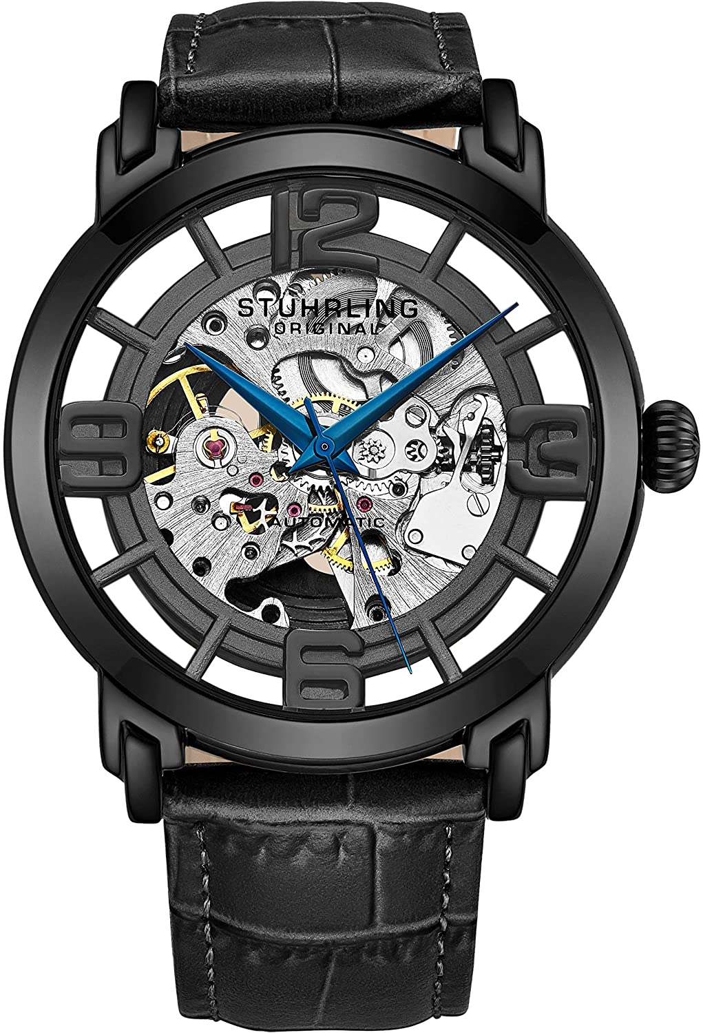 Stuhrling Original Skeleton Mens Watch - Winchester Mechanical Automatic Watch Self Wind Mens Dress Watch - with Premium Leather Band