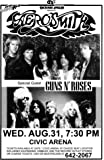 Aerosmith Permanent Vacation Tour 1988 with Guns N' Roses Retro Art Print — Poster Size — Print of Retro Concert Poster — Features Steven Tyler, Joe Perry, Tom Hamilton, Joey Kramer, and Brad Whitford.