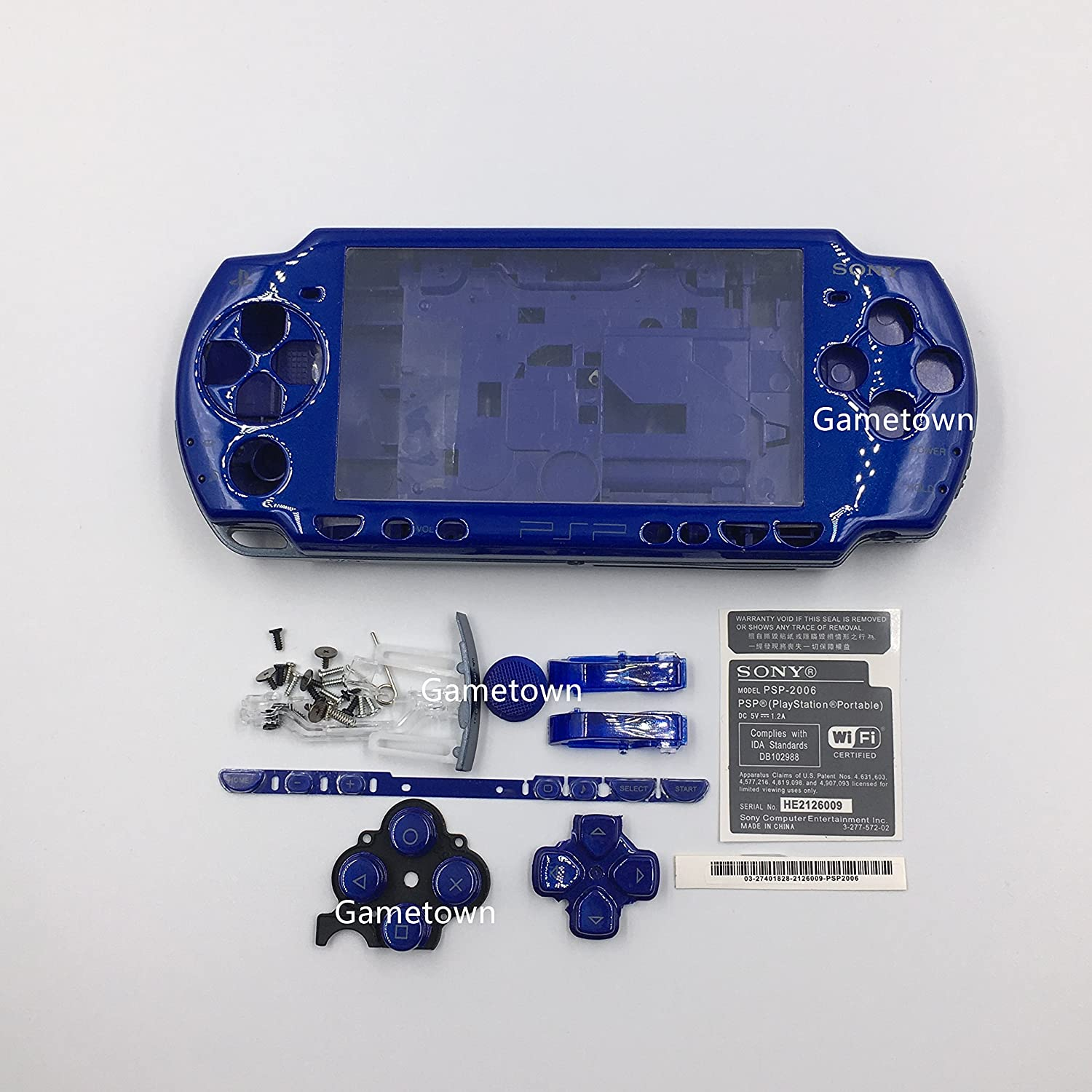 NEW Replacement Sony PSP 2000 Console Full Housing Shell Cover With Button Set -Blue.
