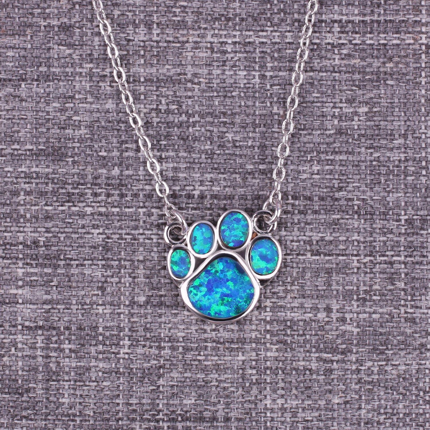 KELITCH Puppy Footprint Pendant Necklace Shiny Created Opal Y Shape Choker Necklace Gift for Friends (Blue) by KELITCH (Image #3)