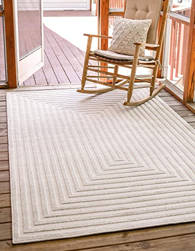 Unique Loom Sabrina Soto Outdoor Collection Geometric Carved Contemporary Beige Area Rug 8' 0 x 10' 0