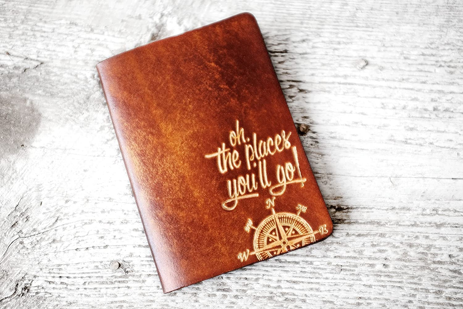 Oh The Places Youll Go Leather Passport Cover Travel Wallet - Graduation Gift
