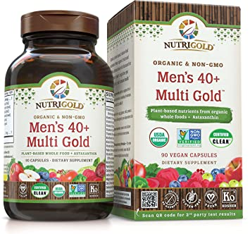 NUTRIGOLD Mens 40+ MULTIVITAMIN 90cap (Organic, nonGMO, wholefood Vitamins and Minerals from