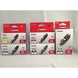 Canon PG-550XL+CLI-551XL 5 Cartuchos de tinta original BK/C/M/Y/PGBK XL para Impresora de Inyeccion de tinta Pixma MX725-MX925-MG5450-MG5550-MG5650-MG6350-MG6450-MG6650-MG7150-MG7550-iP7250-iP8750-iX6850