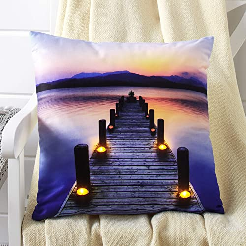 The Lakeside Collection Light Up Throw Pillow with Photo of Unique, Nautical Beach Theme – Pier