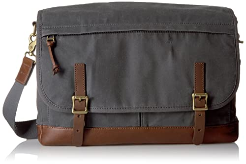 Fossil Men's Defender Waxed Canvas Messenger Bag, Grey