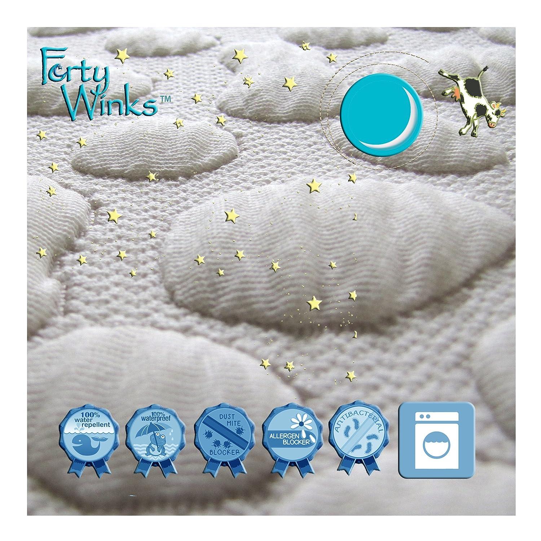 40 Winks Organic Cotton Pebble-Puff Waterproof Mattress Pad Protector Full Weft-Tex MPECPPC5475 Natural