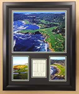 """Legends Never Die Pebble Beach Golf Course - Framed 18""""x22"""" Double Matted Photos, Inc."""