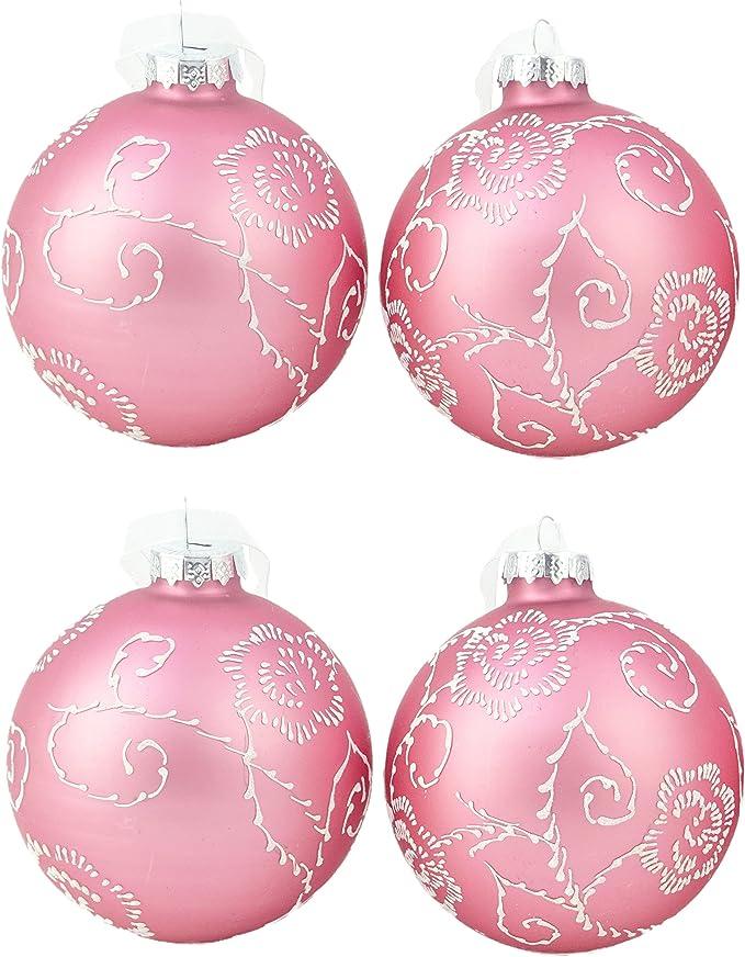 Pack de 4 - Adornos con motivos rosas rosa de 80 mm - Decoraciones ...