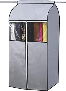 SLEEPING LAMB Garment Bag Organizer Storage with Clear PVC Windows Garment Rack Cover Well-Sealed Hanging Closet Cover for Suits Coats Jackets, Grey (Not Including Frame)