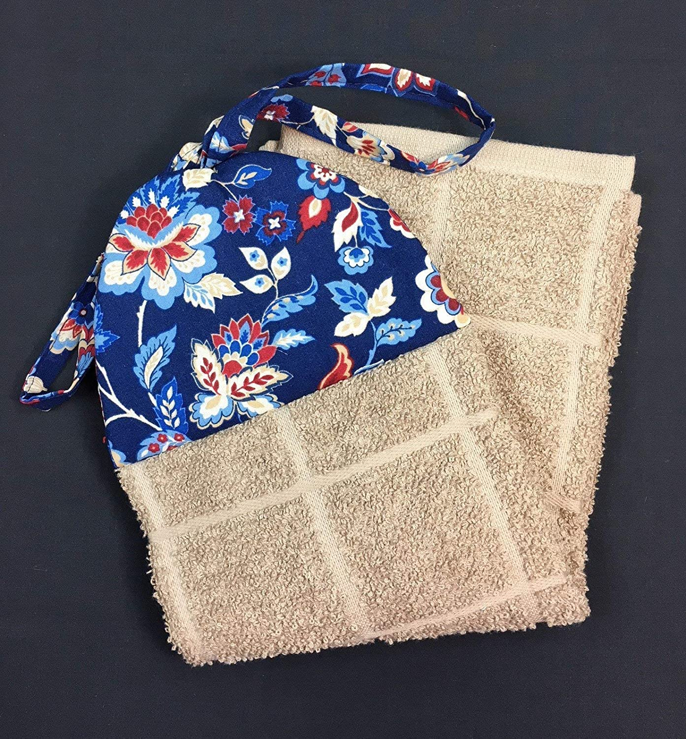 Americana Patriotic Red White and Cobalt Flowers on Blue Ties On Stays Put Kitchen Hanging Loop Hand Dish Towel