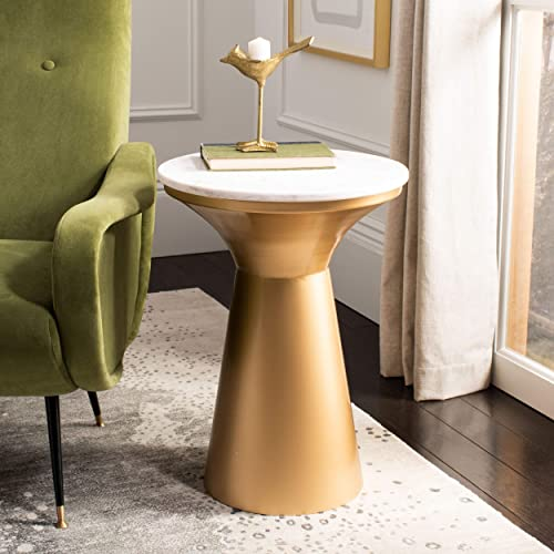Safavieh Home Mila White Marble and Brass Pedestal End Table