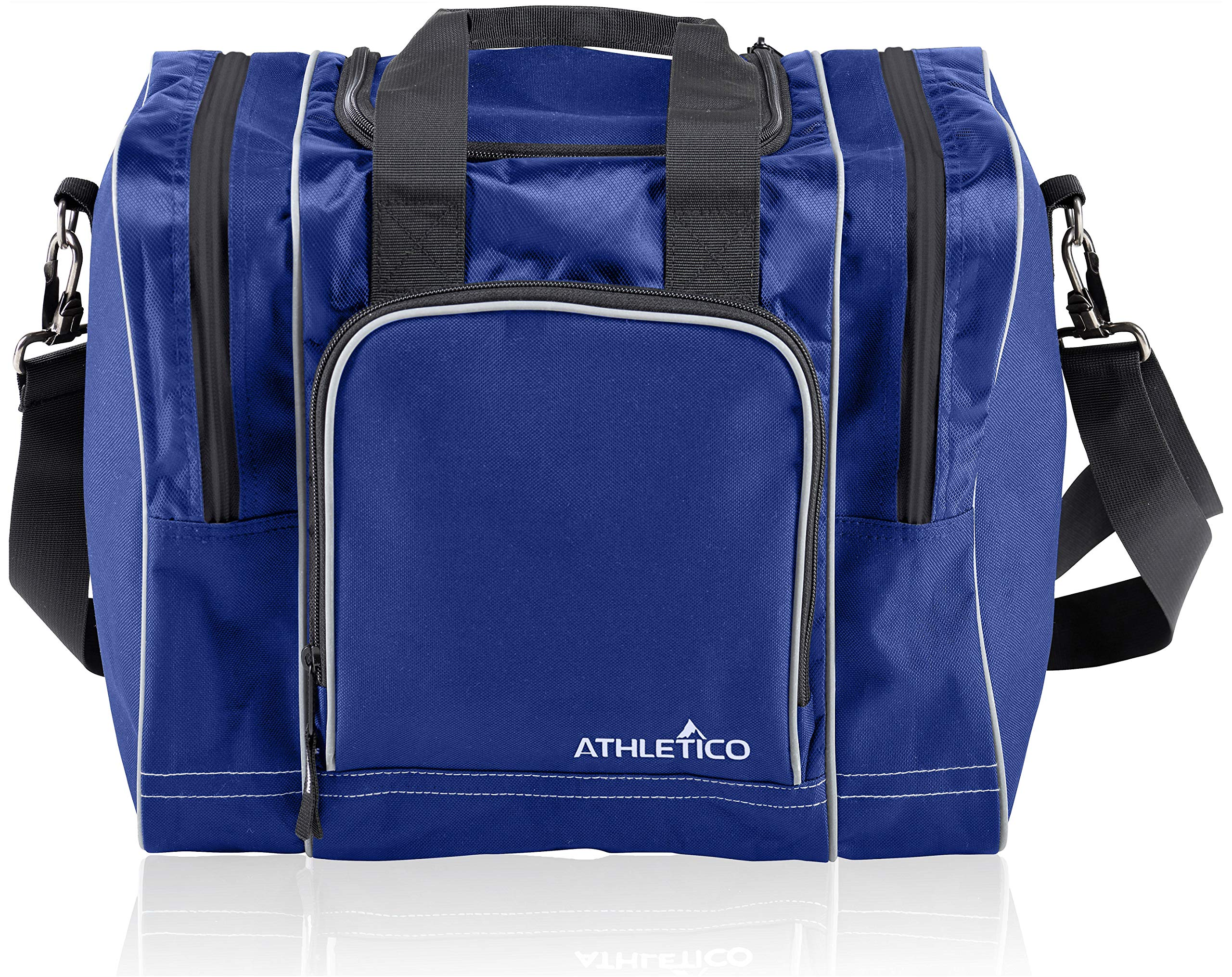 Athletico Bowling Bag for Single Ball - Single Ball Tote Bag with Padded Ball Holder - Fits a Single Pair of Bowling Shoes Up to Mens Size 14 (Blue) by Athletico