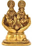 Aesthetic Decors Lakshmi (Laxmi) & Ganesh Sitting On Hand in Antique Gold Showpiece - 5 cm (Brass, Gold)