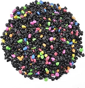"CNZ Aquarium Gravel Black & Flourescent Mix for Plant Aquariums, Landscaping, Home Decor, 0.25""-0.35"", 5-Pound"