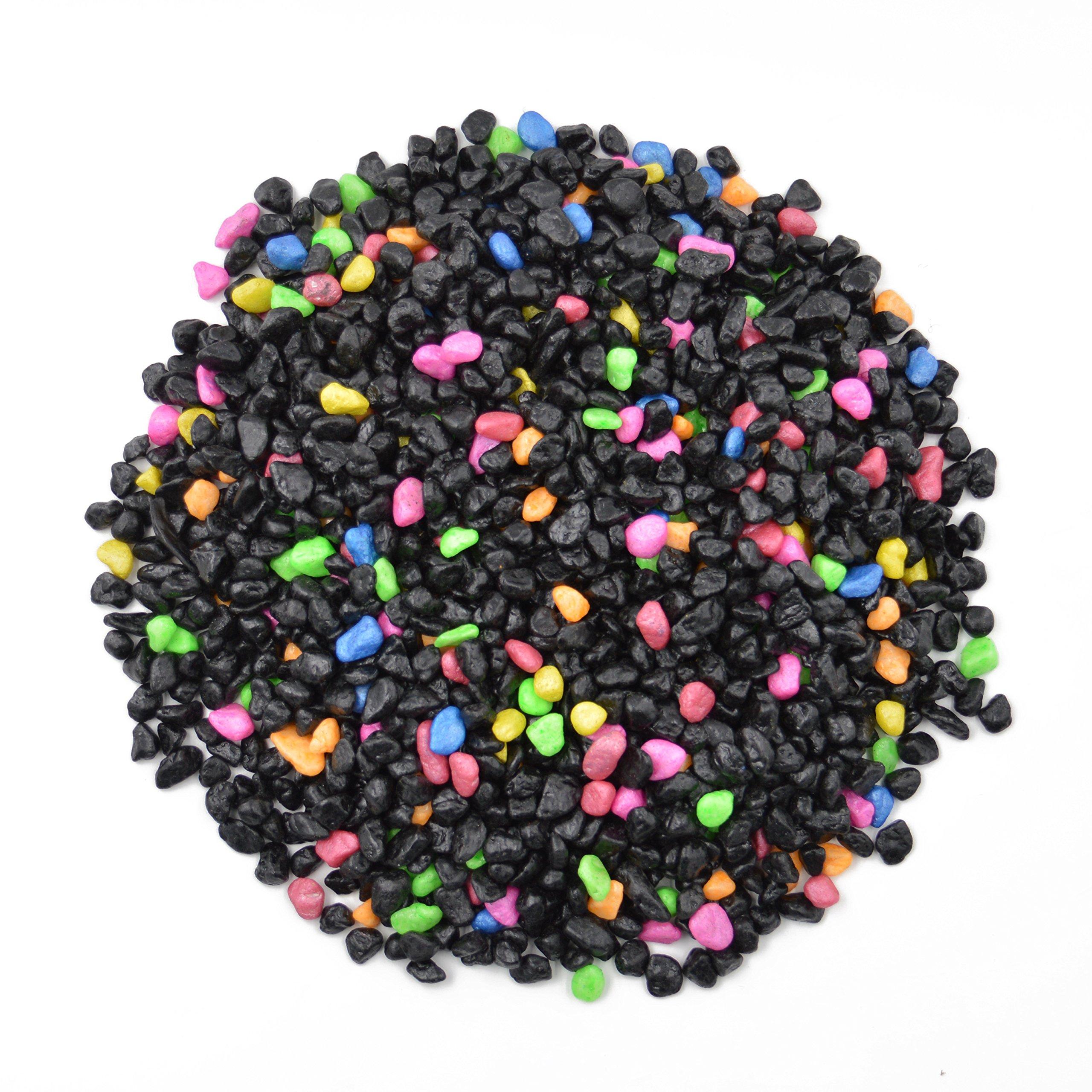 CNZ Aquarium Gravel Black & Flourescent Mix for Plant Aquariums, Landscaping, Home Decor, 0.25''-0.35'', 5-Pound by CNZ