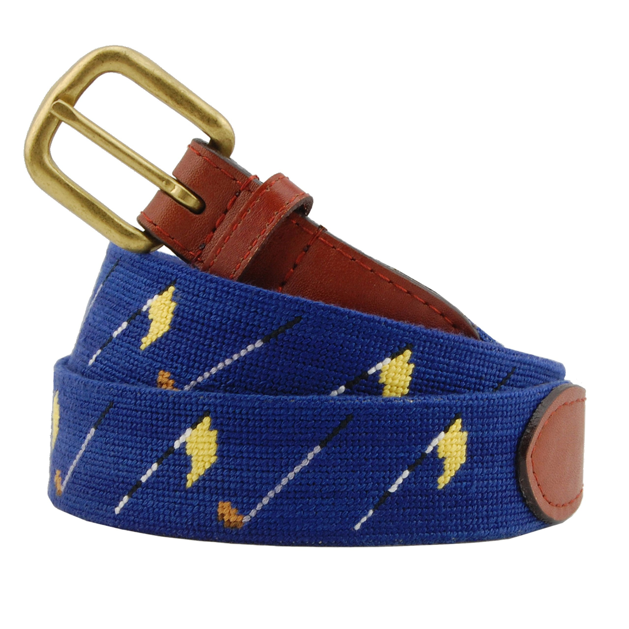 Smathers & Branson Men's Golf Flags Needlepoint Belt (Navy) 42 Classic Navy by Smathers & Branson