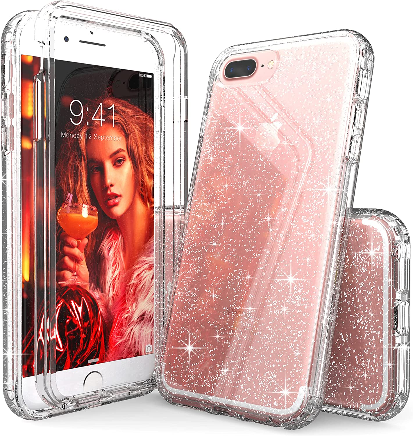 iPhone 8 Plus Case Glitter Clear for Girls, IDYStar Hybrid 2 in 1 Shockproof Heavy Duty Protection Shock Resistant Durable Slim Fit Cover for iPhone 8 Plus/7 Plus, Glitter Clear