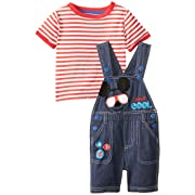 001601b49 Disney Baby Boys' Mickey Short Sleeve T-Shirt and Shortall Set, Red, 12  Months