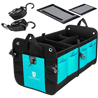 TRUNKCRATEPRO Premium Multi Compartments Collapsible Portable Trunk Organizer for auto, SUV, Truck, Minivan (Black) (Regular, Cyan Green): Automotive