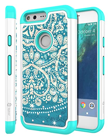 98b9efa3da Google Pixel XL Case, Pixel XL Bling Case, Style4U Studded Rhinestone  Crystal Bling Hybrid