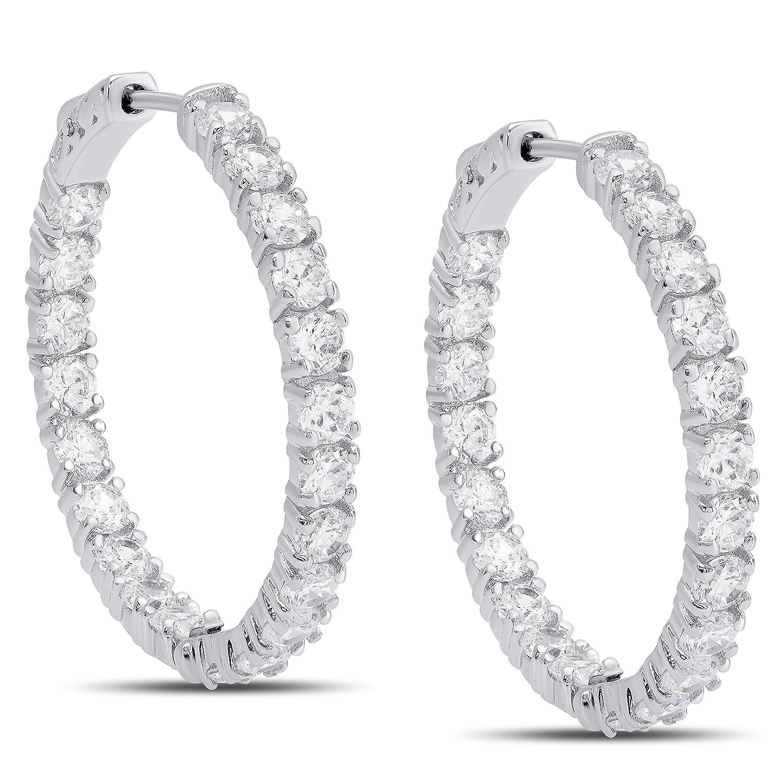 Victoria Townsend 1.25 inch Inside-Out Cubic Zirconia Earrings Hoops for Women 30mm Diameter